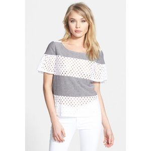 Ella Moss Tessa Chambray Eyelet Striped Top